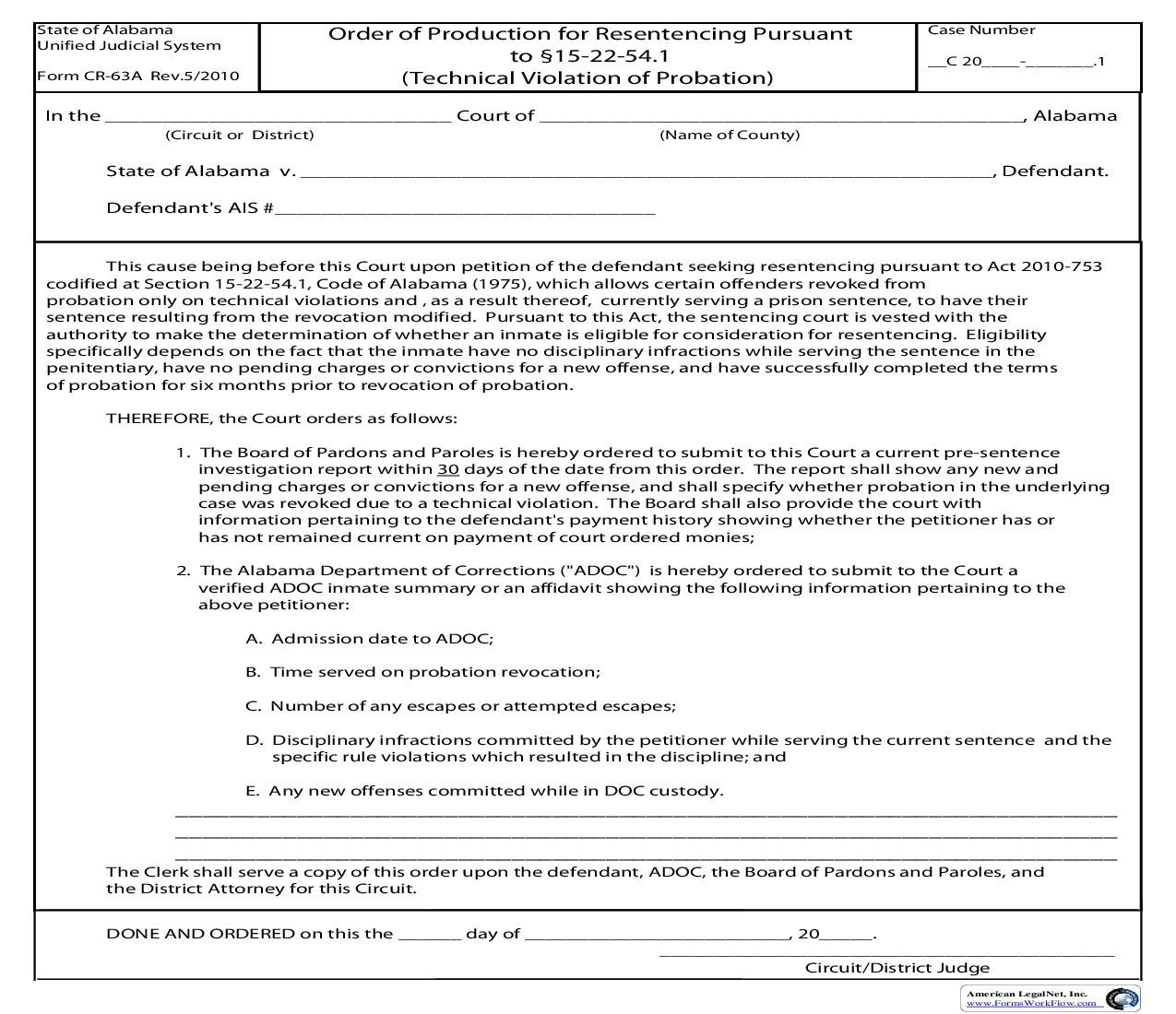 Order Of Production For Resentencing PursuantTo 15-22-54.1 {CR-63A} | Pdf Fpdf Doc Docx | Alabama