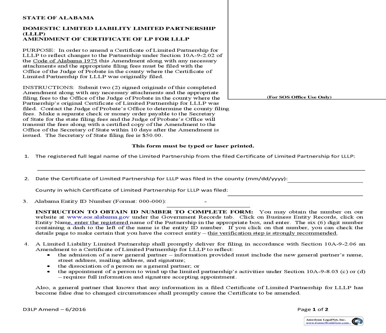 Amendment Of Certificate Of LP For LLLP (Domestic) |  | Alabama