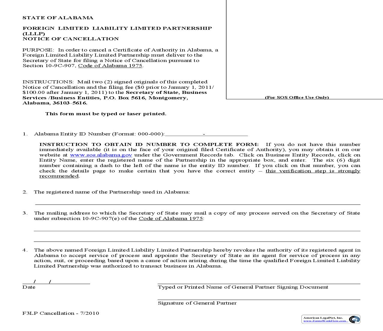 Notice Of Cancellation (Foreign)   Pdf Fpdf Doc Docx   Alabama