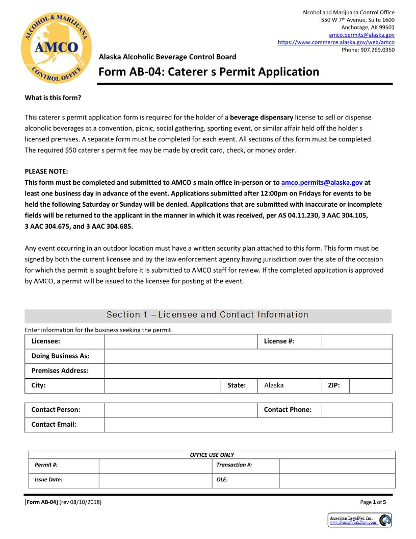 Caterers Permit Application {AB-04} | Pdf Fpdf Doc Docx | Alaska