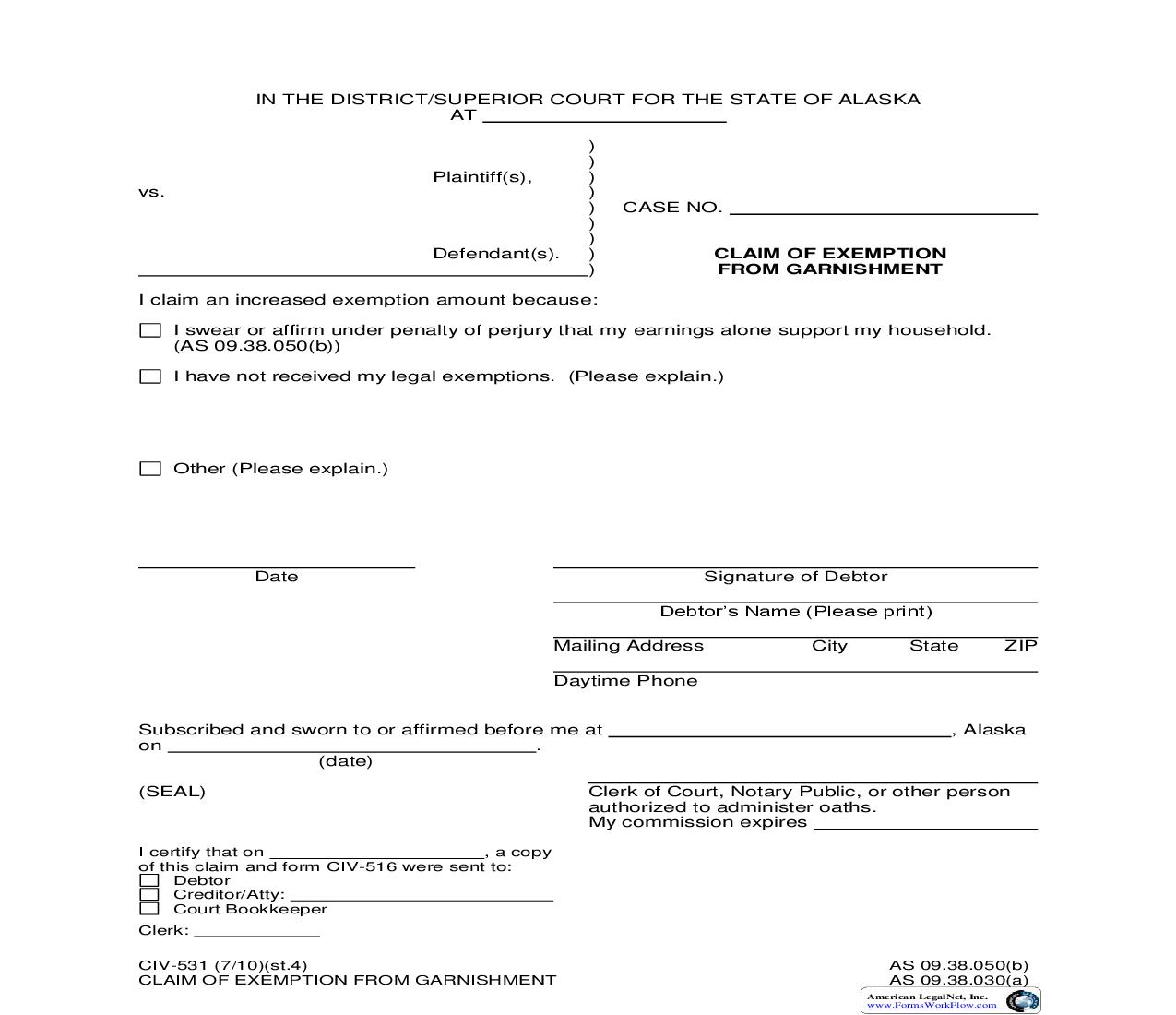 Claim Of Exemption From Garnishment {CIV-531} | Pdf Fpdf Doc Docx | Alaska