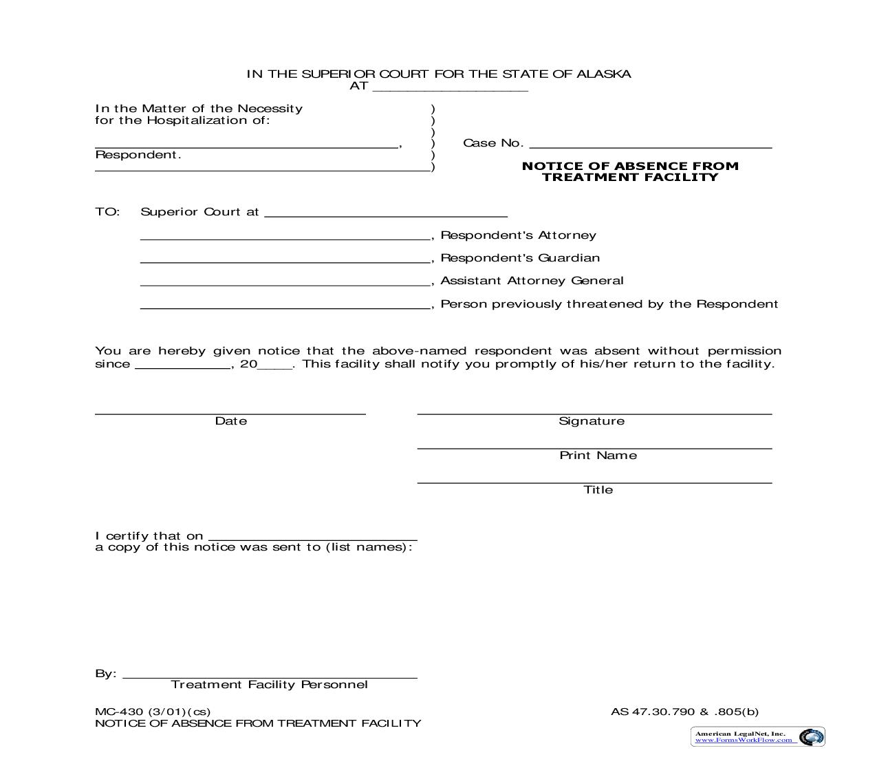Notice Of Absence From Treatment Facility {MC-430} | Pdf Fpdf Doc Docx | Alaska
