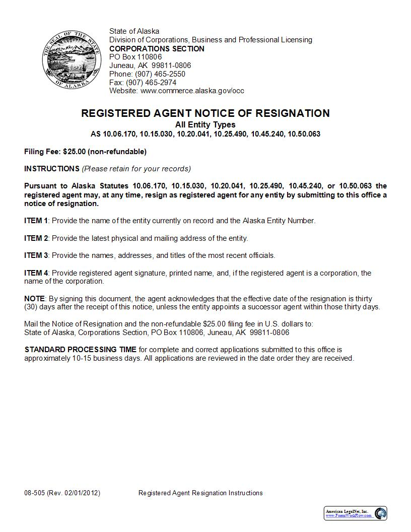 Registered Agent Notice Of Resignation (All Entity Types) {08-505} | Pdf Fpdf Doc Docx | Alaska