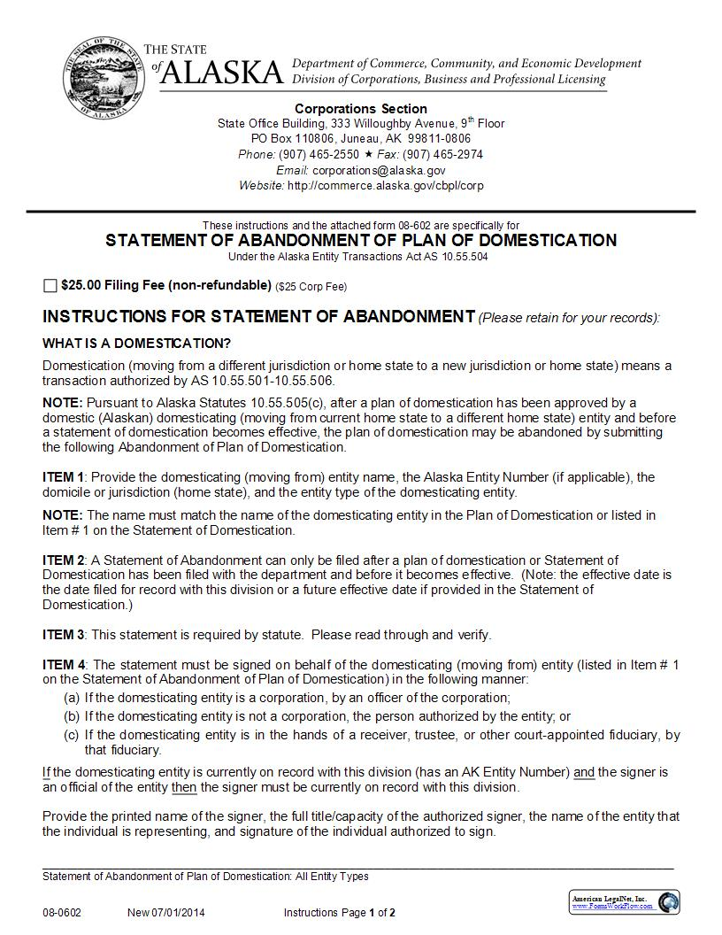 Statement Of Abandonment Of Plan Of Domestication {08-0602} | Pdf Fpdf Doc Docx | Alaska