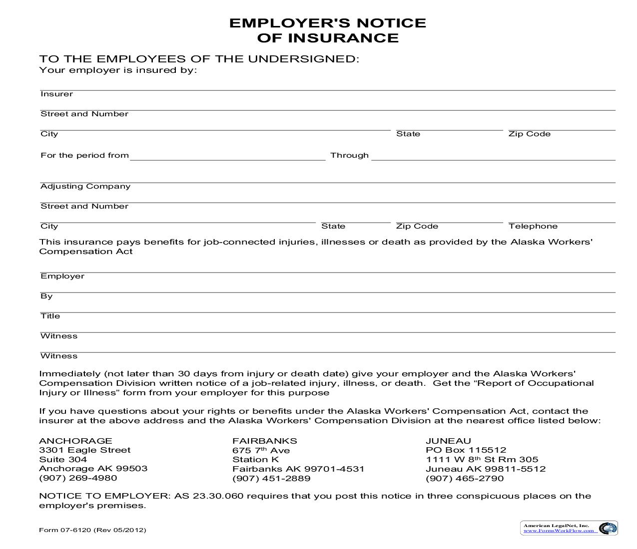 Employers Notice Of Insurance {07-6120} | Pdf Fpdf Doc Docx | Alaska