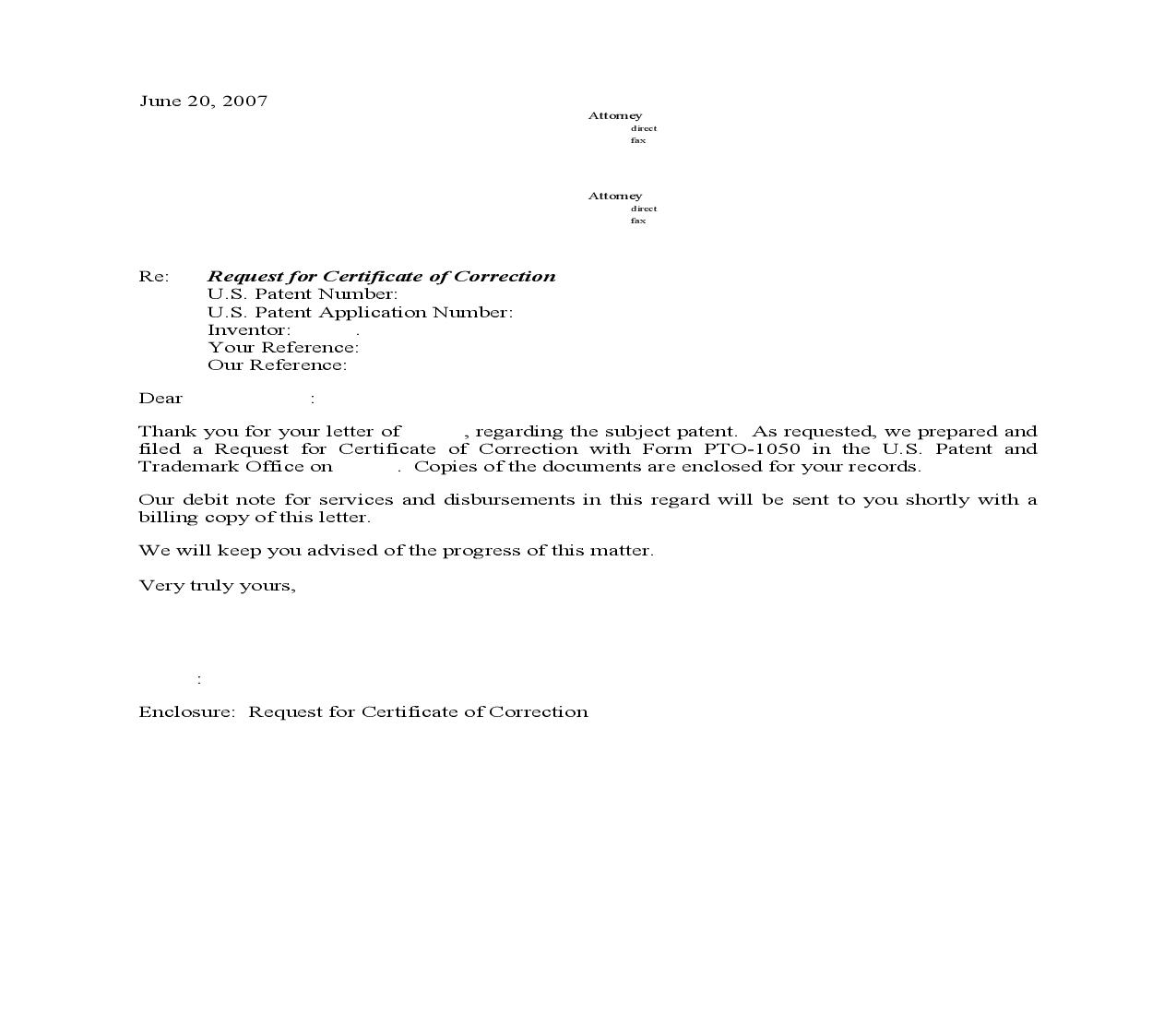 US_Ltr Certificate of Correction Filing | Pdf Doc Docx | Arent Fox