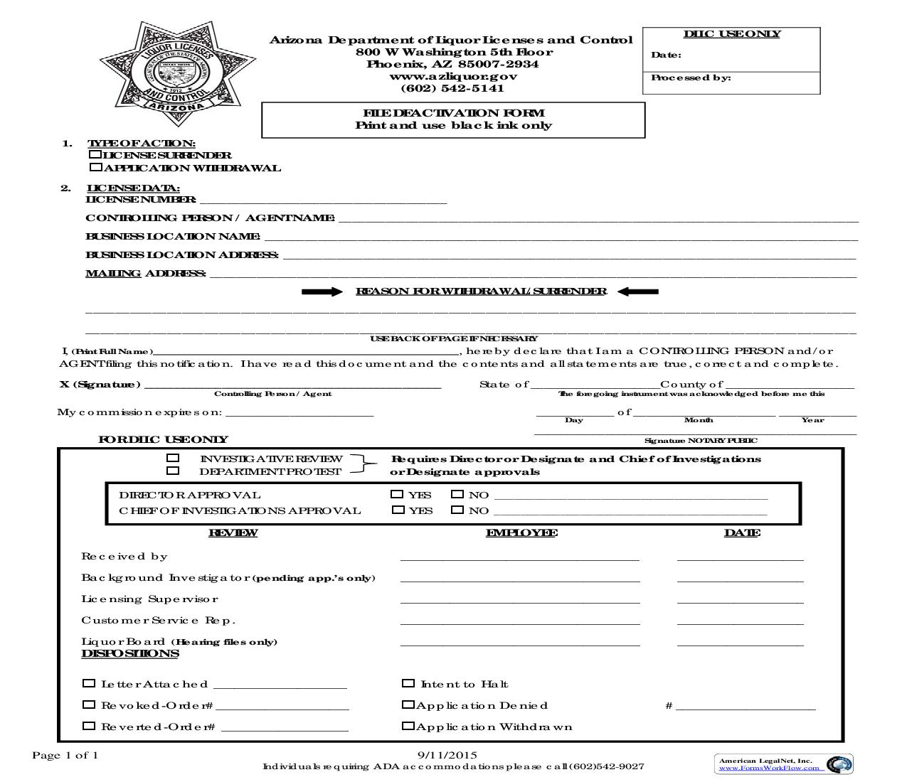 File Deactivation Form {LIC0050} | Pdf Fpdf Doc Docx | Arizona