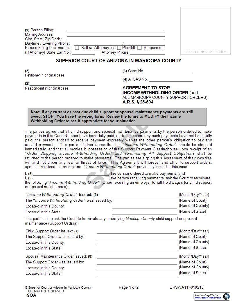 Agreement To Stop Order Of Assignment {DRSWA11f} | Pdf Fpdf Doc Docx | Arizona