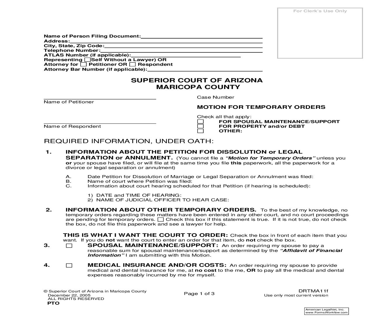 Motion For Temporary Orders {DRTMA11f} | Pdf Fpdf Doc Docx | Arizona