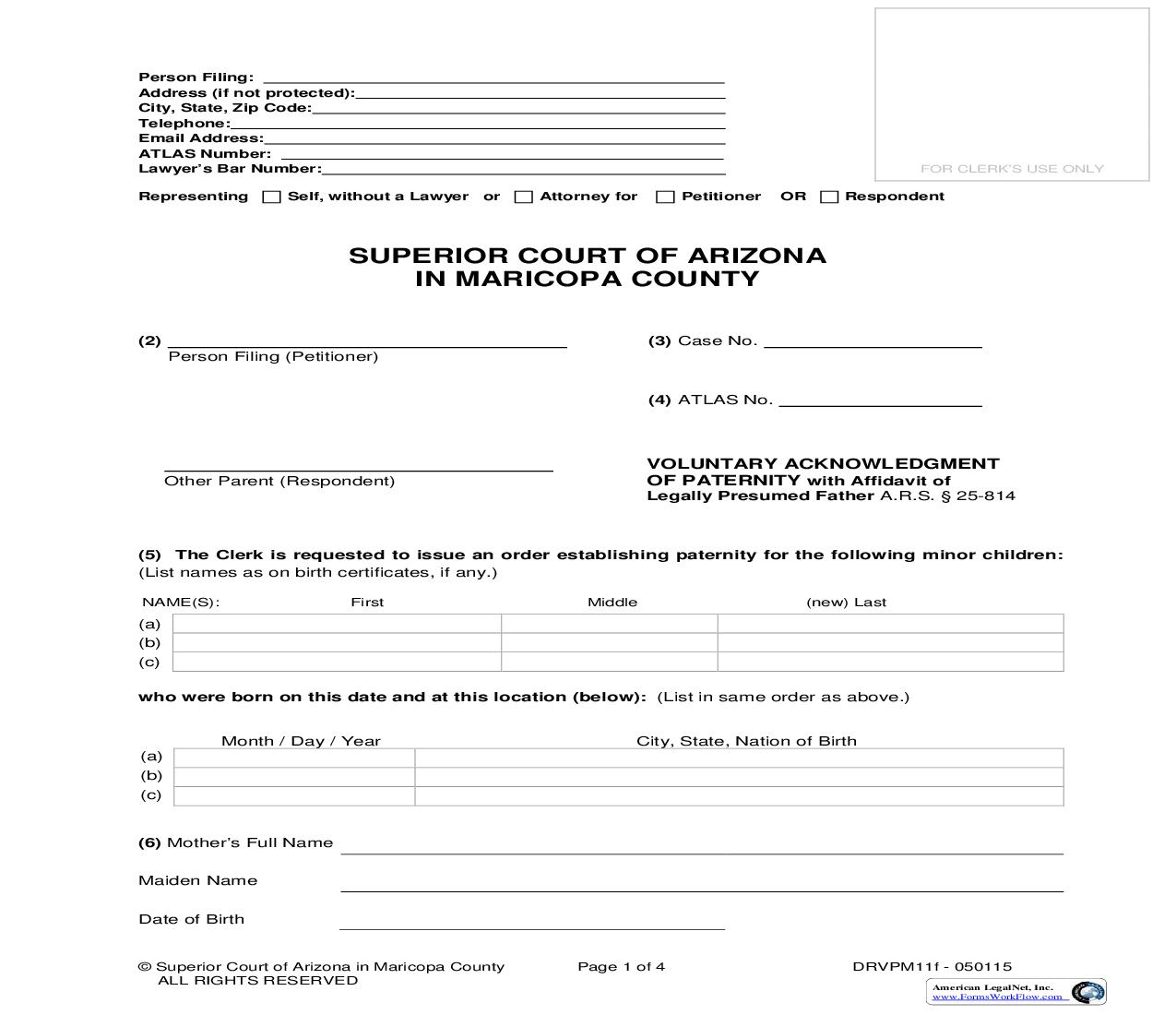 Voluntary Acknowledgment Of Paternity With Affidavit Of Legally Presumed Father {DRVPM11f} | Pdf Fpdf Doc Docx | Arizona