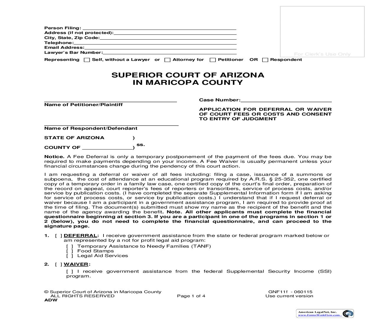 Application For Deferral Or Waiver Of Court Fees And Or Costs And Consent To Entry Of Judgment {GNF11f} | Pdf Fpdf Doc Docx | Arizona