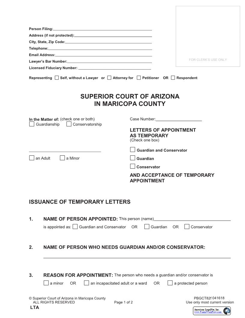 Letters Of Appointment As Temporary Guardian And Or Conservator And Acceptance Of Temporary Appointment {PBGCT82f} | Pdf Fpdf Docx | Arizona