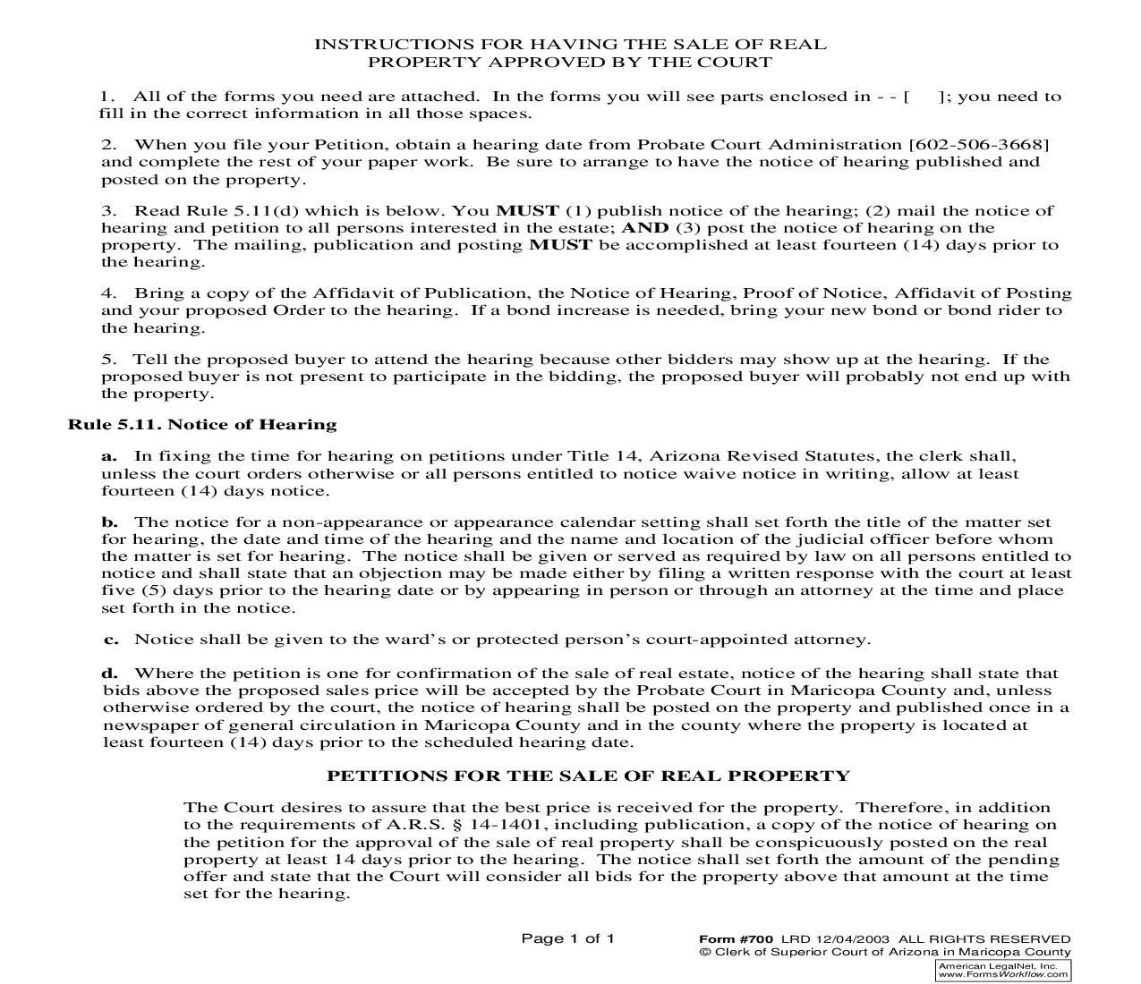 Notice Of Hearing On Petition For Approval Of Sale Of Real Property {700} | Pdf Fpdf Doc Docx | Arizona