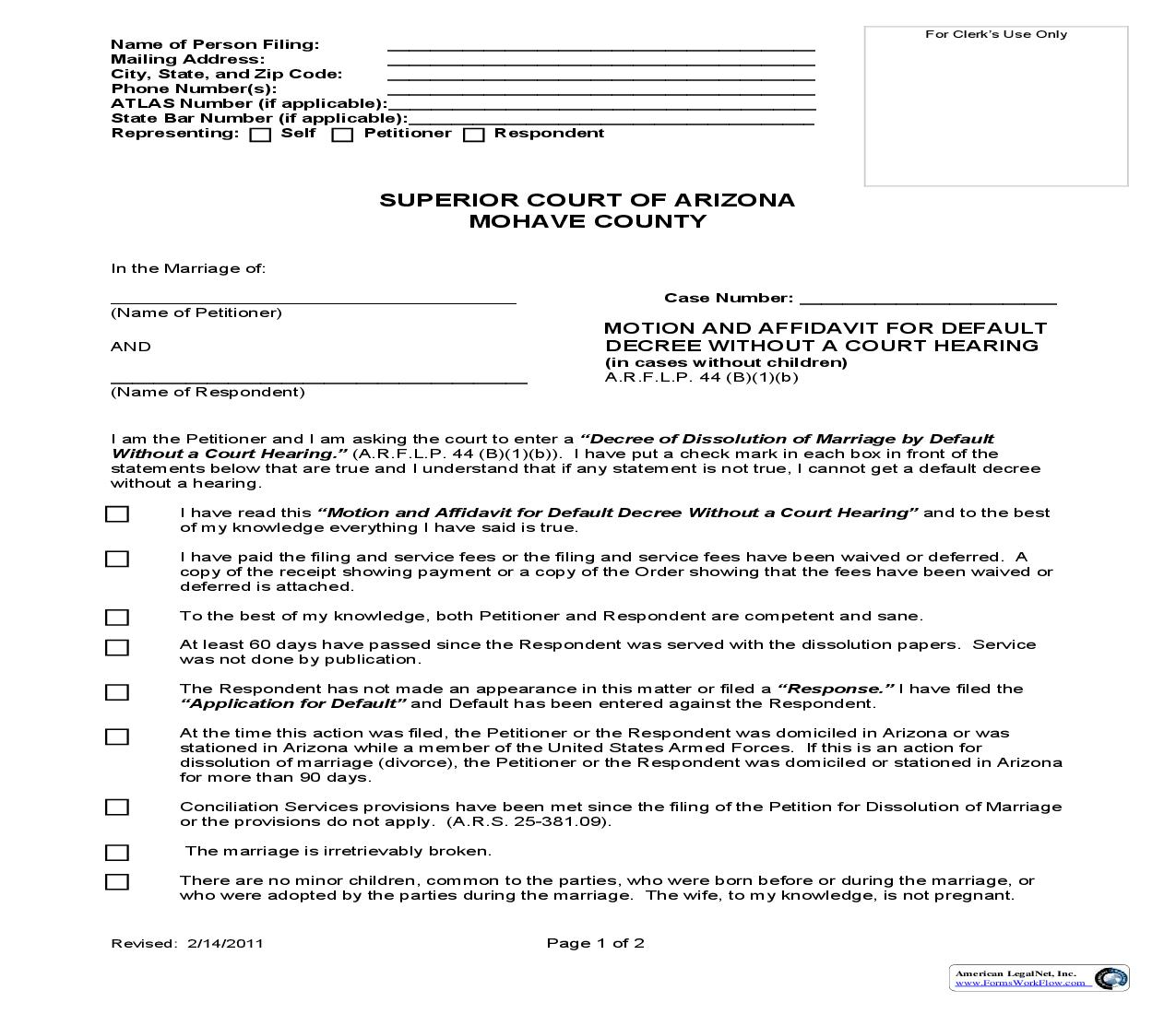 Motion And Affidavit For Default Decree Without Hearing (Without Children) | Pdf Fpdf Doc Docx | Arizona