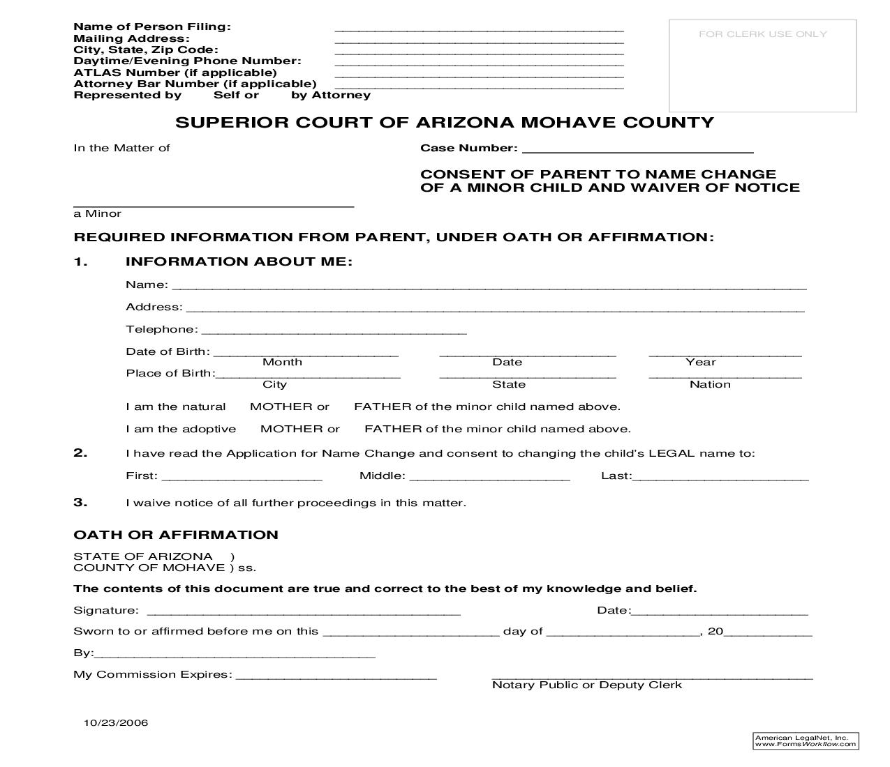 Consent Of Parent To Name Change Of Minor Child And Waiver Of Notice | Pdf Fpdf Doc Docx | Arizona