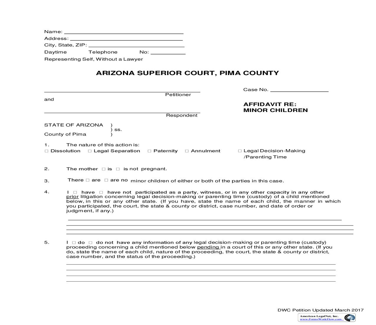 Affidavit Re Minor Children | Pdf Fpdf Doc Docx | Arizona