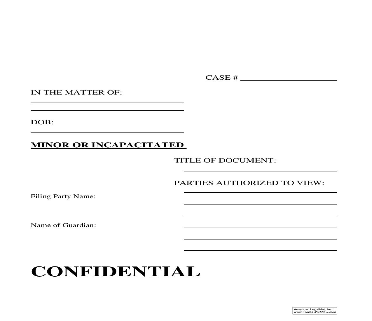 Investigator Confidential Filing Label (Blank Template For Use On Envelope) | Pdf Fpdf Doc Docx | Arizona