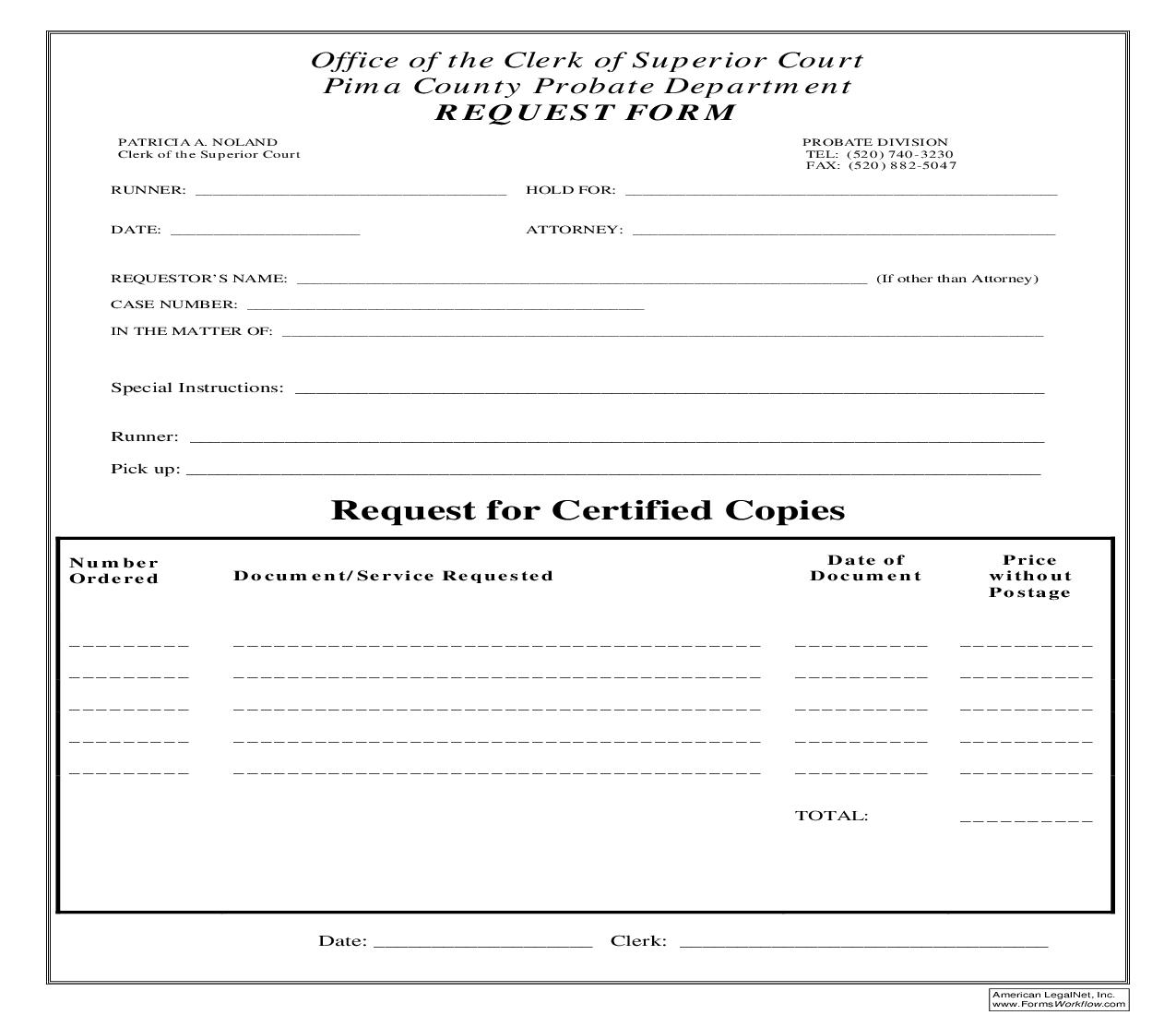 Request Form - Request For Certified Copies | Pdf Fpdf Doc Docx | Arizona