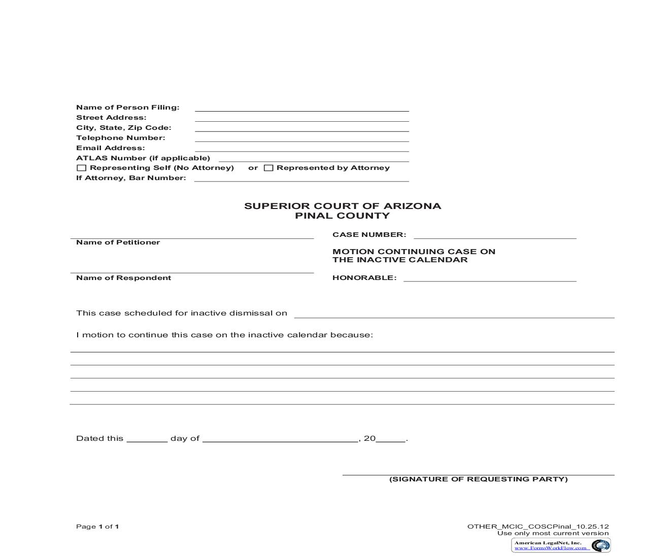 Motion Continuing Case On The Inactive Calendar | Pdf Fpdf Doc Docx | Arizona