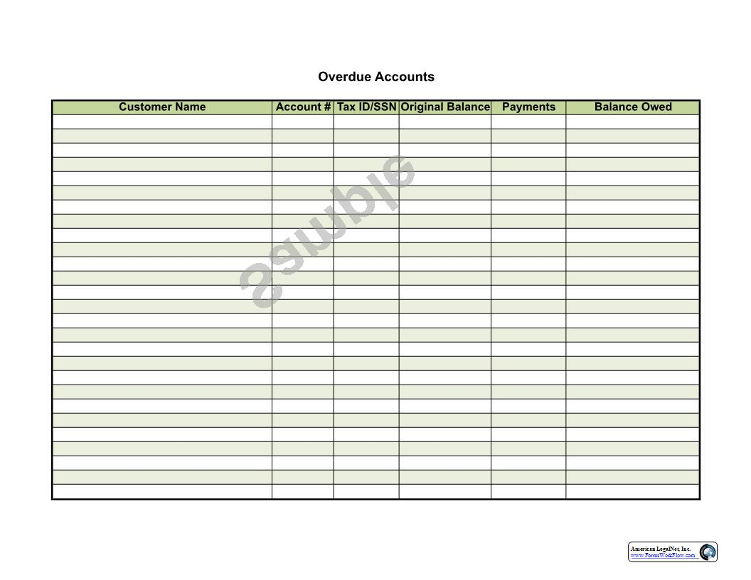 Overdue Accounts   Pdf Fpdf Docx   Business Forms