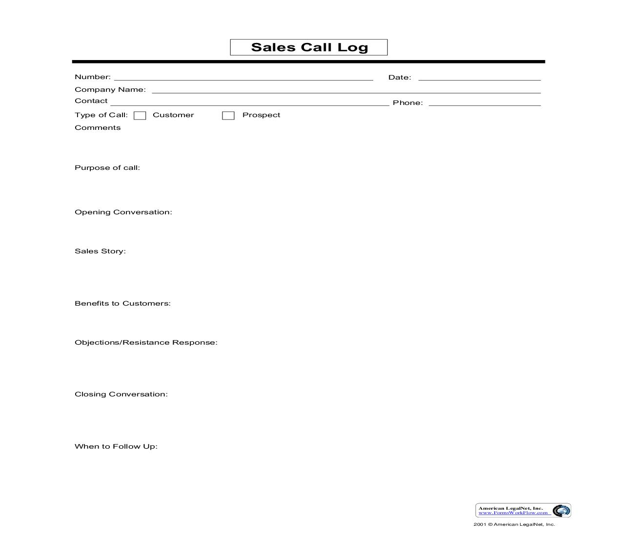 Sales Call Log | Pdf Fpdf Doc Docx | Business Forms