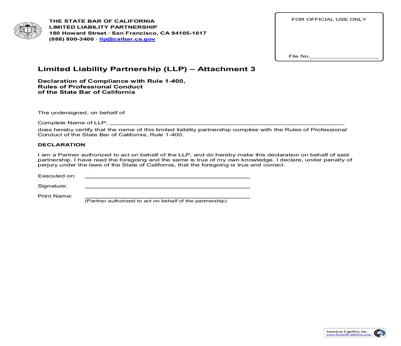 Attachment 3 Declaration Of Compliance With Rule 1-400 | Pdf Fpdf Doc Docx | California