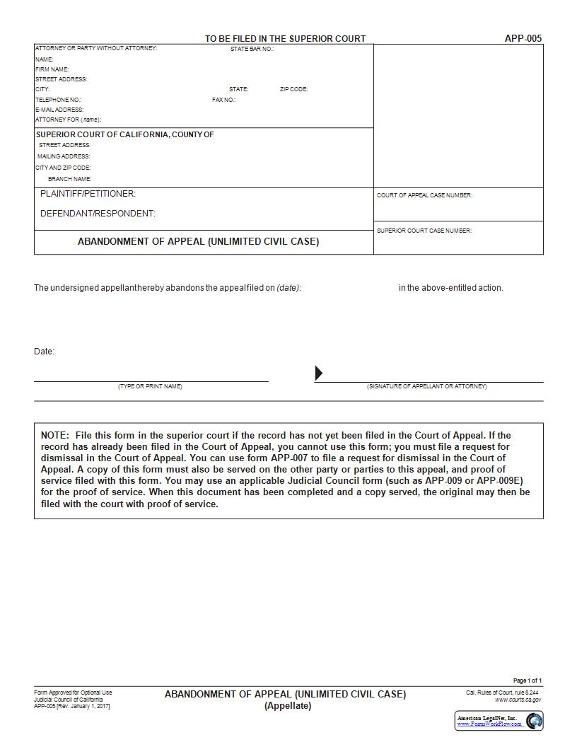 Abandonment Of Appeal (Unlimited Civil Case) {APP-005} | Pdf Fpdf Docx | California