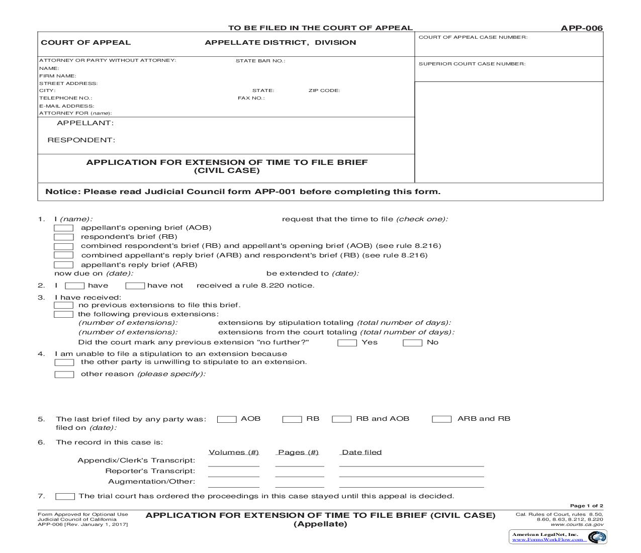 Application For Extension Of Time To File Brief (Civil Case) {APP-006} | Pdf Fpdf Doc Docx | California