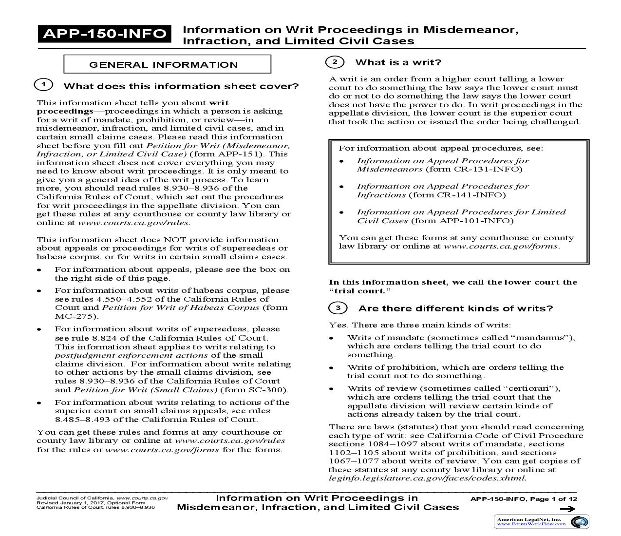 Information On Writ Proceedings In Misdemeanor Infraction And Limited Civil Cases {APP-150-INFO} | Pdf Fpdf Doc Docx | California