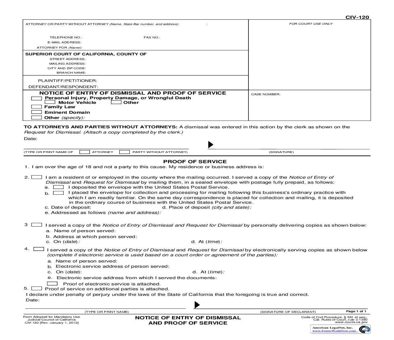 Notice Of Entry Of Dismissal And Proof Of Service {CIV-120} | Pdf Fpdf Doc Docx | California
