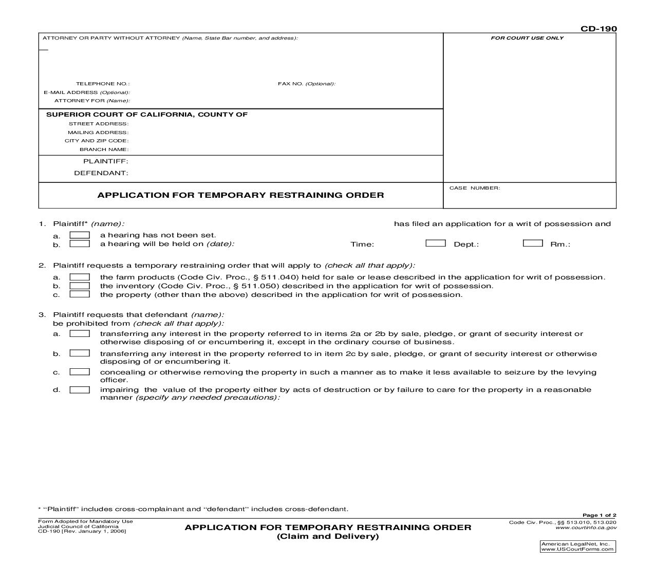 Application For Temporary Restraining Order (Claim And Delivery) {CD-190} | Pdf Fpdf Doc Docx | California