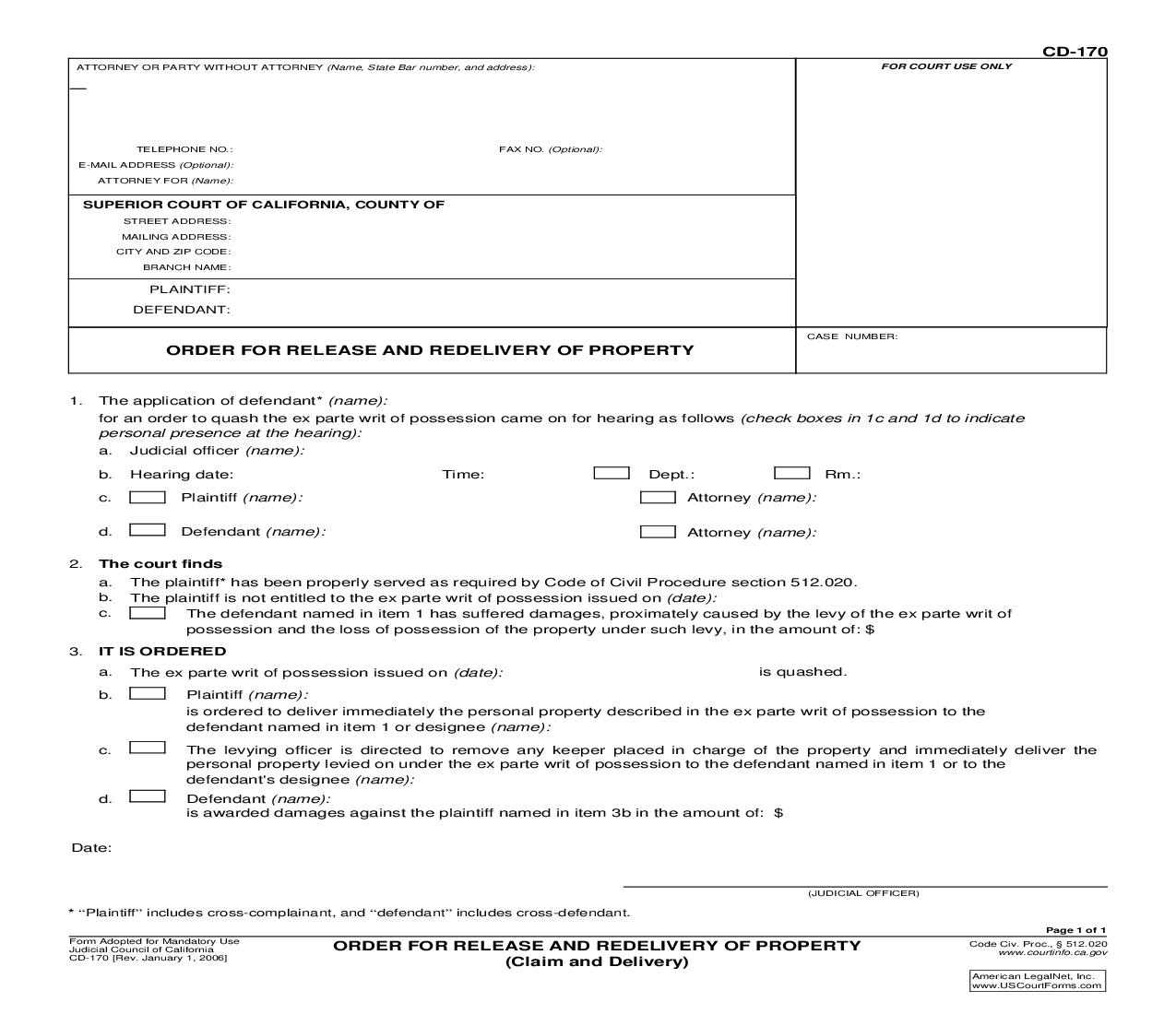 Order For Release And Redelivery Of Property (Claim and Delivery) {CD-170} | Pdf Fpdf Doc Docx | California