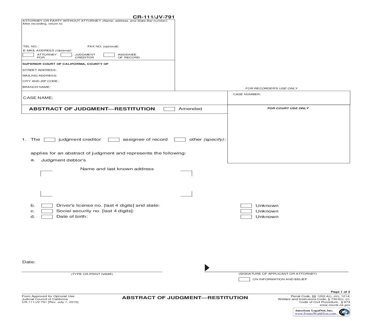 Abstract Of Judgment-Restitution {CR-111 JV-791} | Pdf Fpdf Doc Docx | California