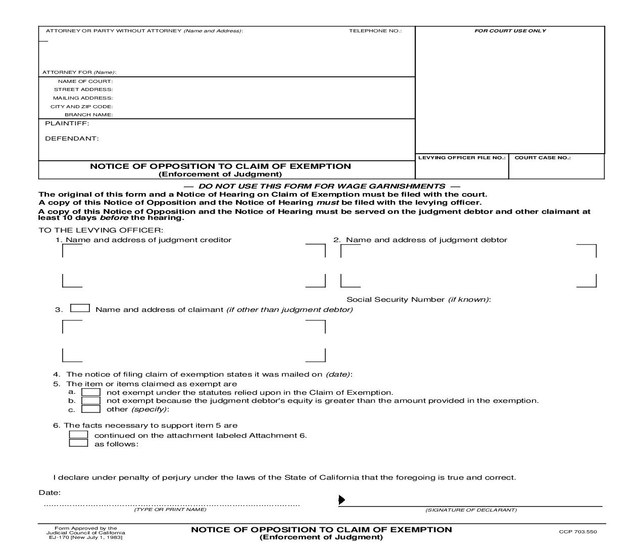 Notice Of Opposition To Claim Of Exemption (Enforcement Of Judgment) {EJ-170} | Pdf Fpdf Doc Docx | California