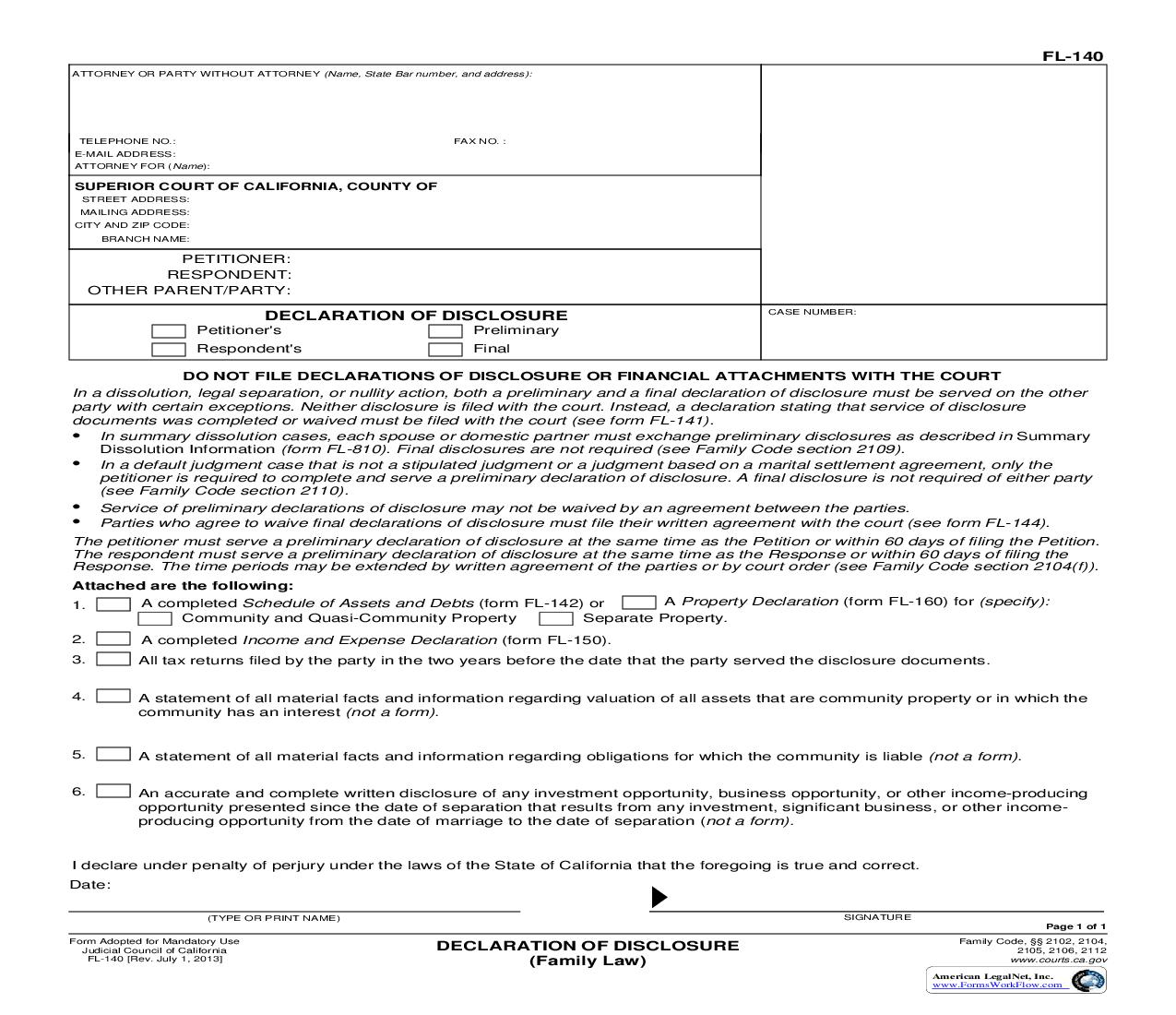 Declaration Of Disclosure (Family Law) {FL-140} | Pdf Fpdf Doc Docx | California