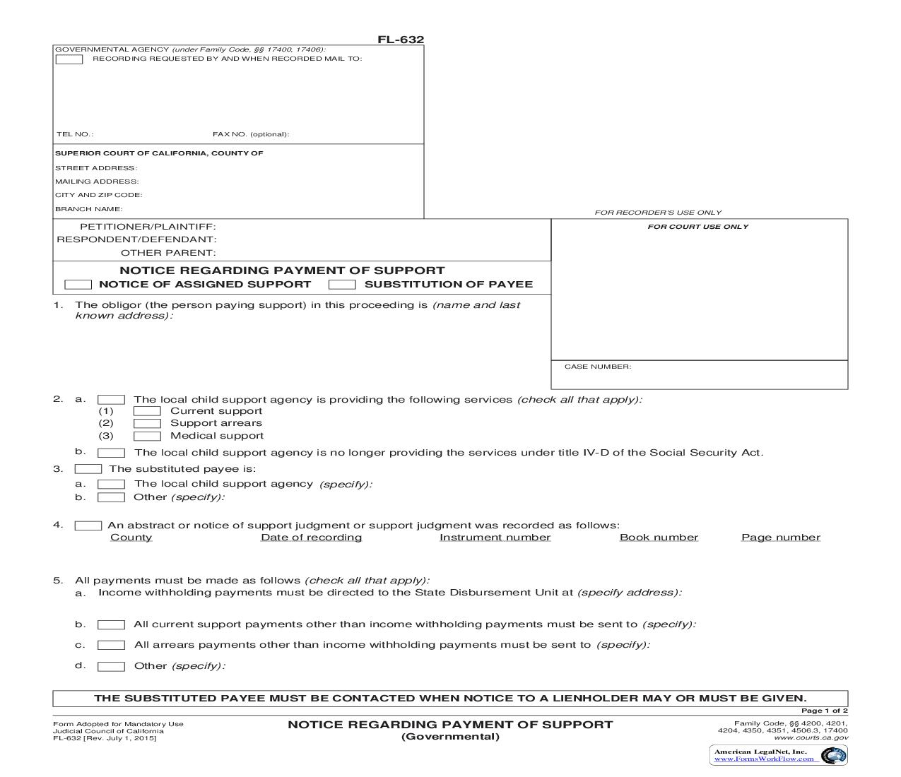 Notice Regarding Payment Of Support (Governmental) {FL-632} | Pdf Fpdf Doc Docx | California