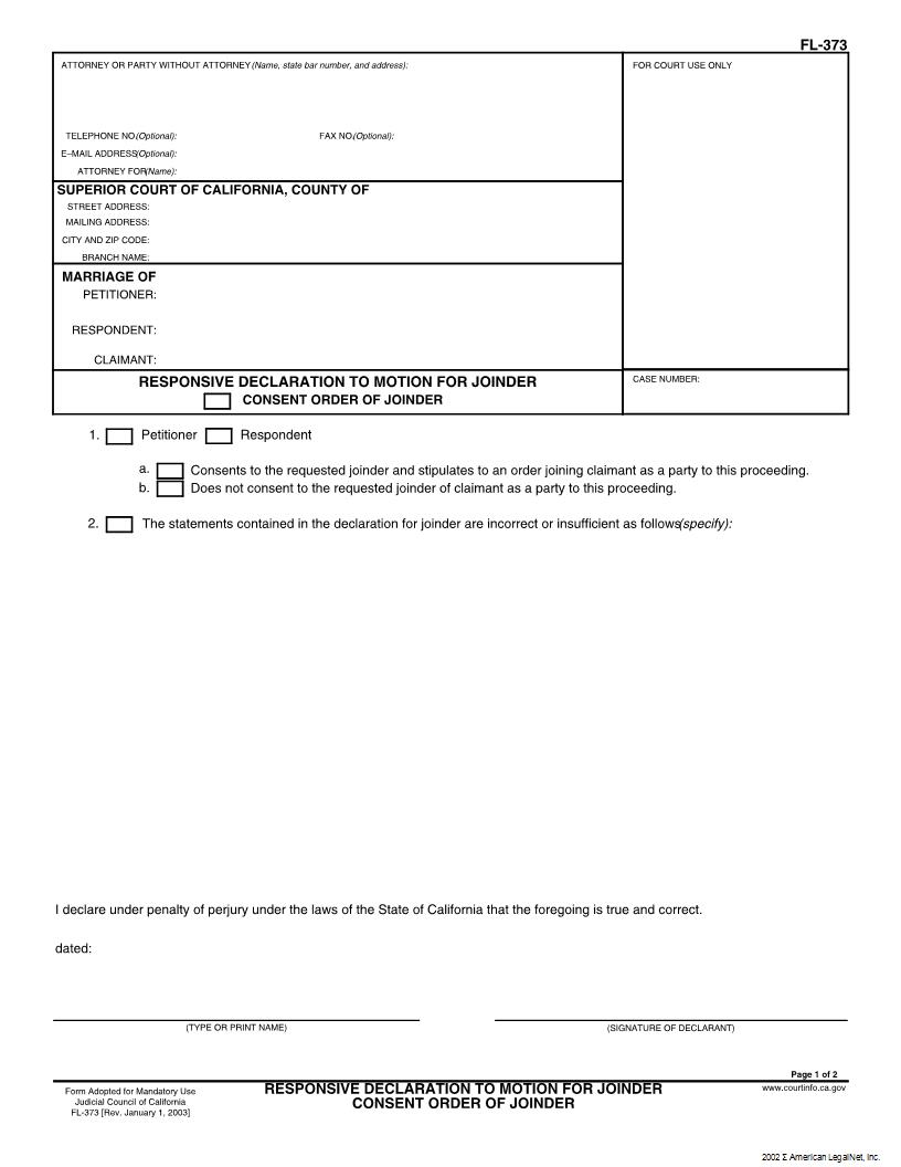 Responsive Declaration To Motion For Joinder Consent Order Of Joinder {FL-373} | Pdf Fpdf Docx | California