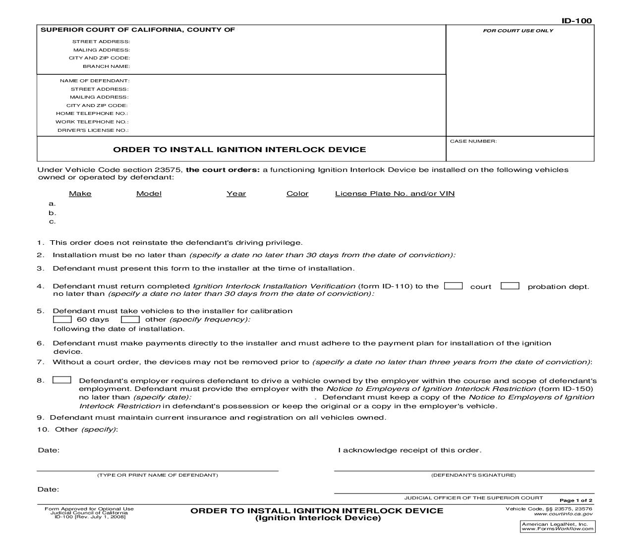Order To Install Ignition Interlock Device (Ignition Interlock Device) {ID-100} | Pdf Fpdf Doc Docx | California