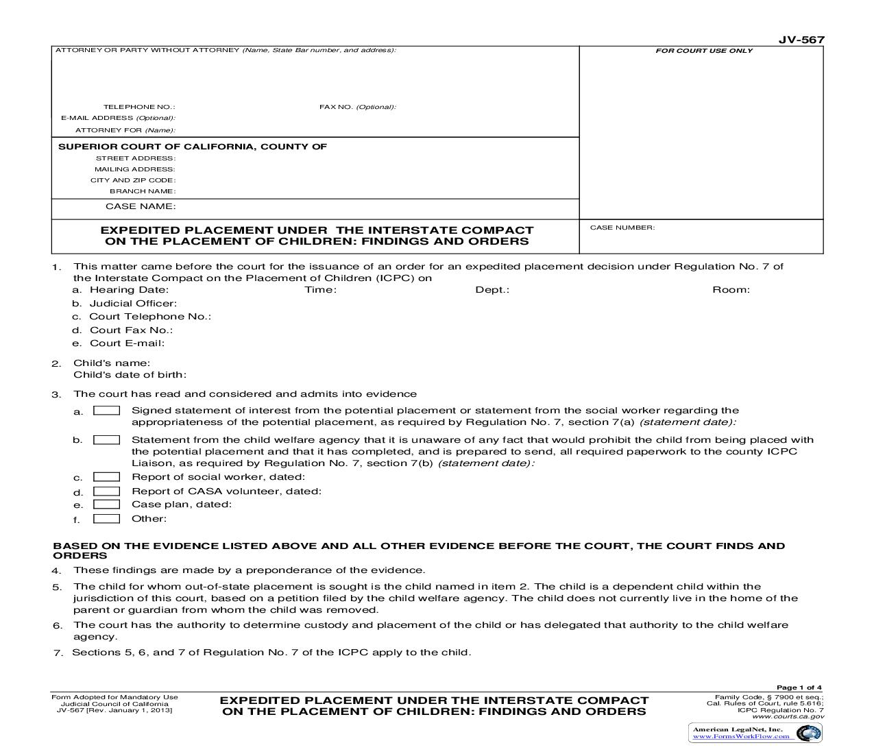 Expedited Placement Under The Interstate Compact On The Placement Of Children {JV-567} | Pdf Fpdf Doc Docx | California