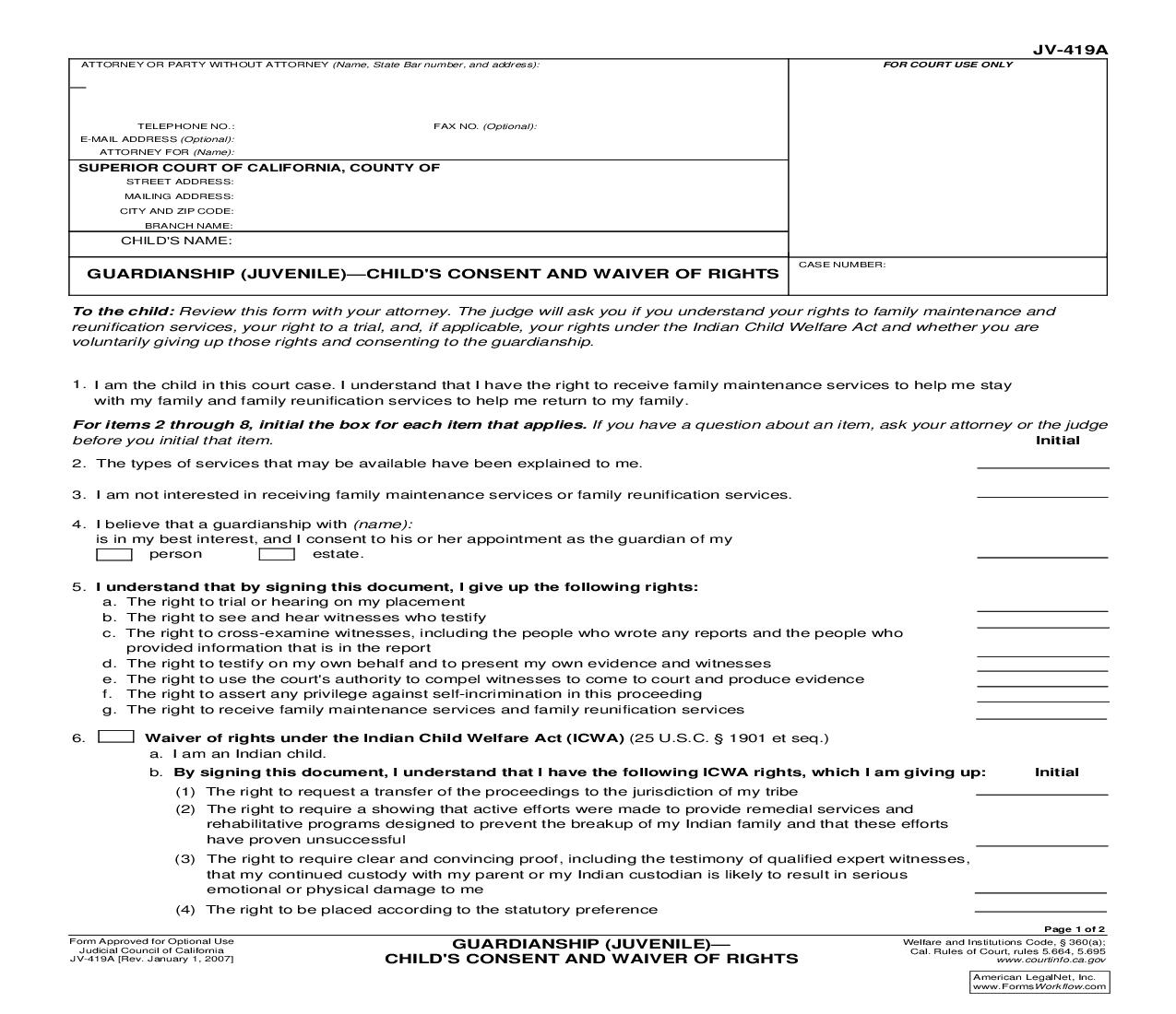 Guardianship (Juvenile)-Childs Consent And Waiver Of Rights {JV-419A}   Pdf Fpdf Doc Docx   California