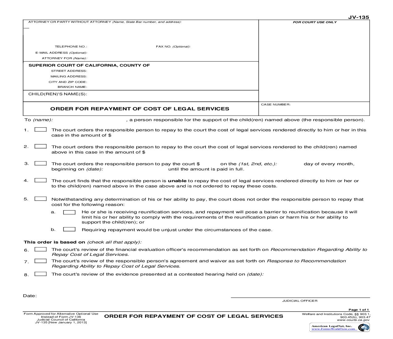Order For Repayment Of Costs Of Legal Services {JV-135} | Pdf Fpdf Doc Docx | California