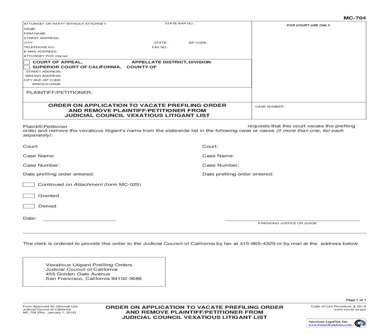 Order On Application To Vacate Prefiling Order And Remove Plaintiff-Petitioner {MC-704} | Pdf Fpdf Doc Docx | California