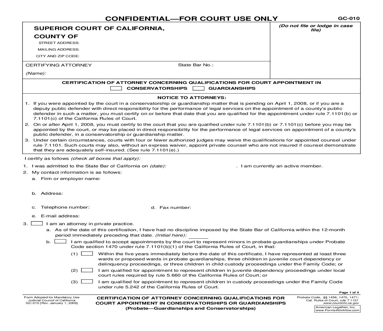 Certification Of Attorney Concerning Qualifications For Court Appointment {GC-010} | Pdf Fpdf Doc Docx | California