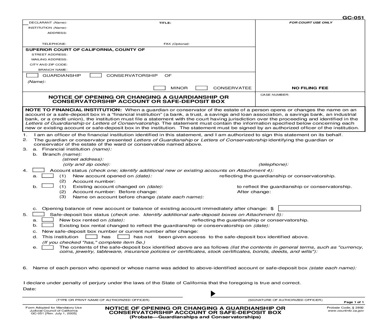 Notice Of Opening Or Changing A Guardianship Or Conservatorship Account Or Safe-Deposit Box (Probate-Guardianships) {GC-051} | Pdf Fpdf Doc Docx | California