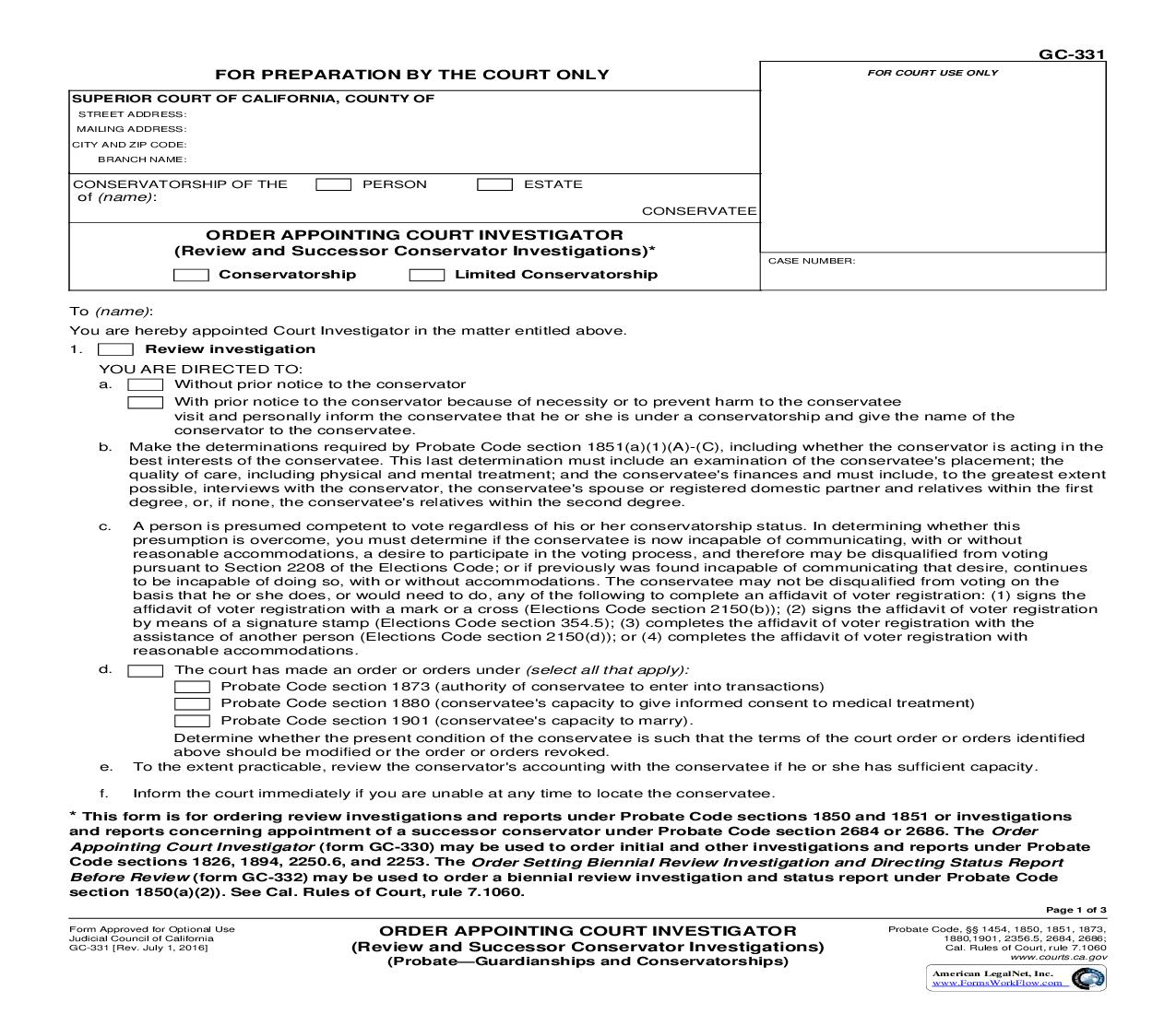 Order Appointing Court Investigator (Review And Successor Conservator Investigations) {GC-331} | Pdf Fpdf Doc Docx | California
