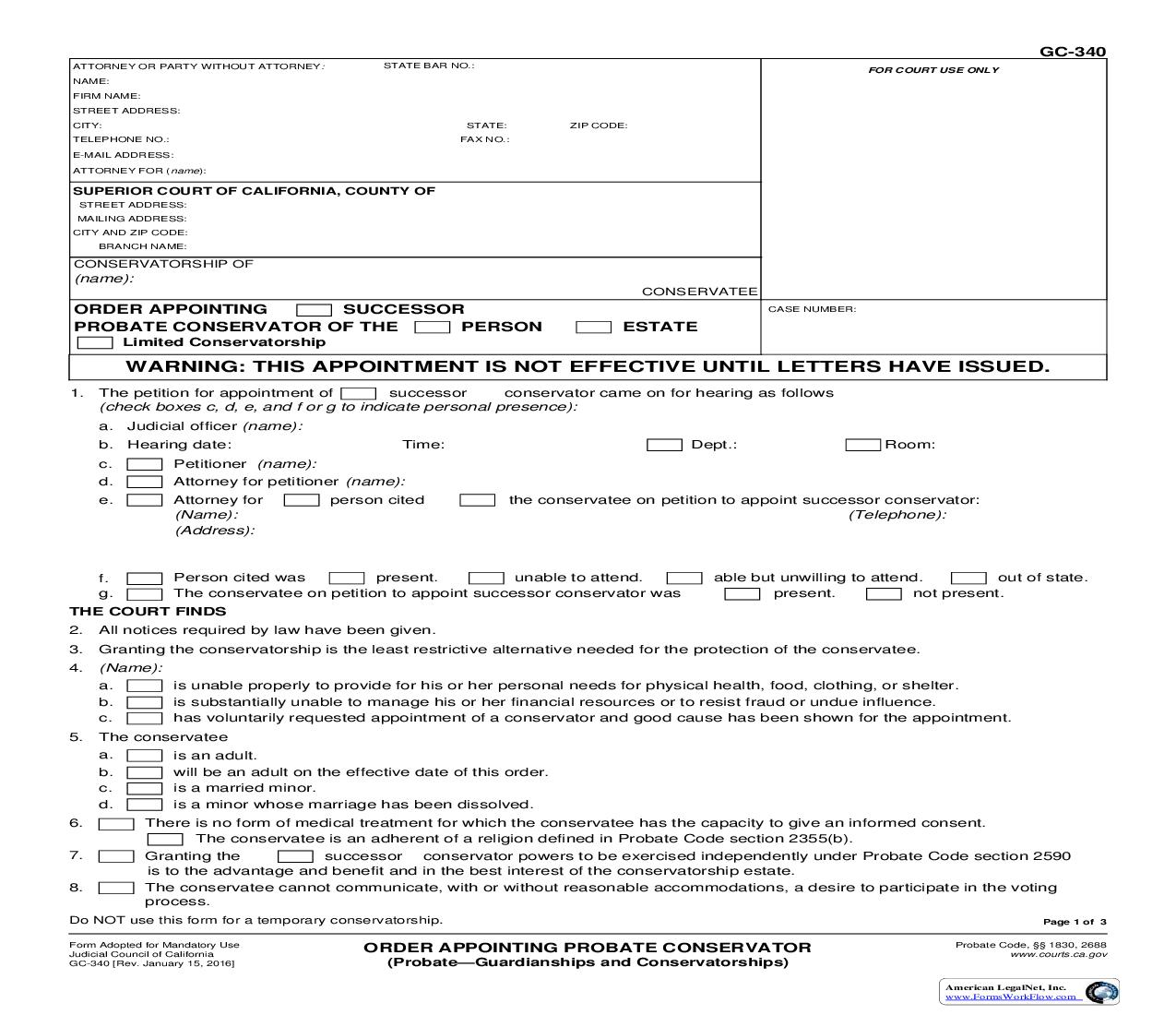 Order Appointing Probate Conservator (Probate-Guardianships And Conservatorships) {GC-340}   Pdf Fpdf Doc Docx   California