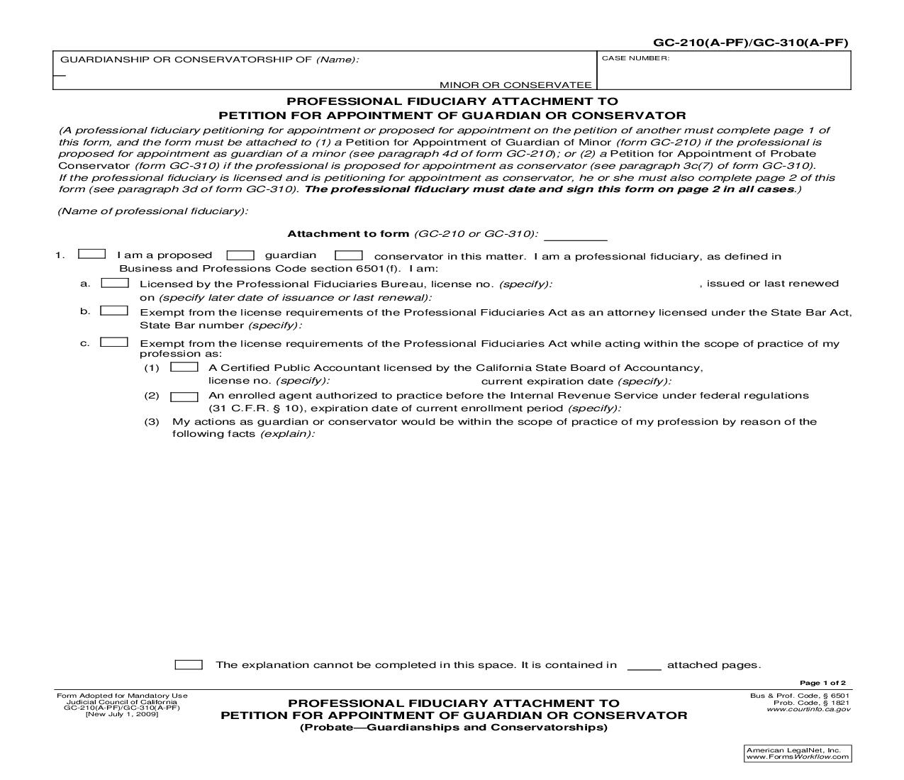 Professional Fiduciary Attachment To Petition For Appointment Of Guardian Or Conservator {GC-210(A-PF) GC-310(A-PF)}   Pdf Fpdf Doc Docx   California
