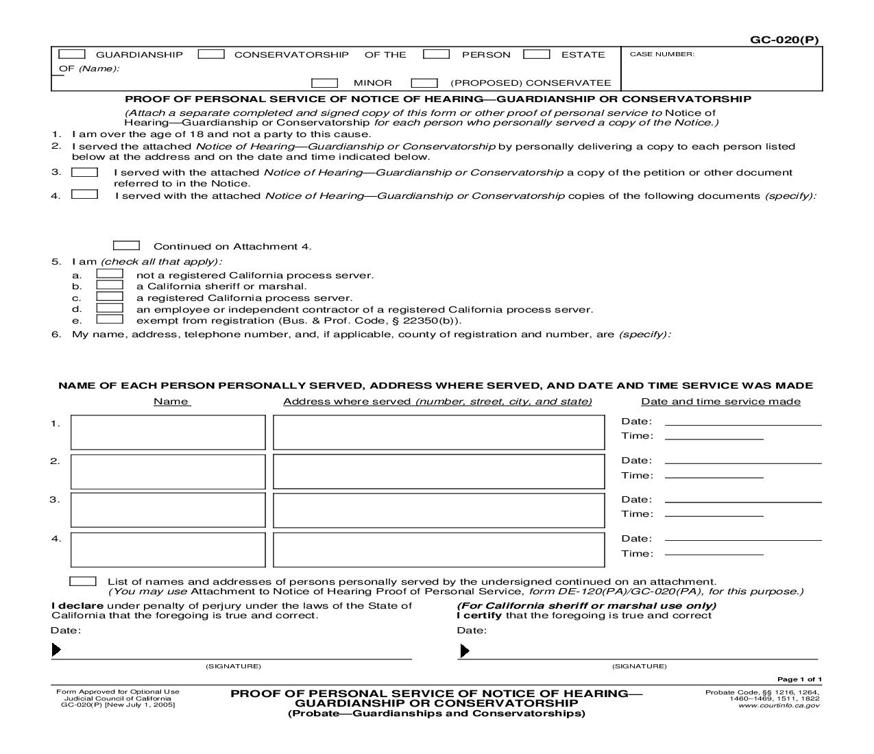 Proof Of Personal Service Of Notice Of Hearing-Guardianship Or Conservatorship (Probate-Guardianships) {GC-020(P)}   Pdf Fpdf Doc Docx   California