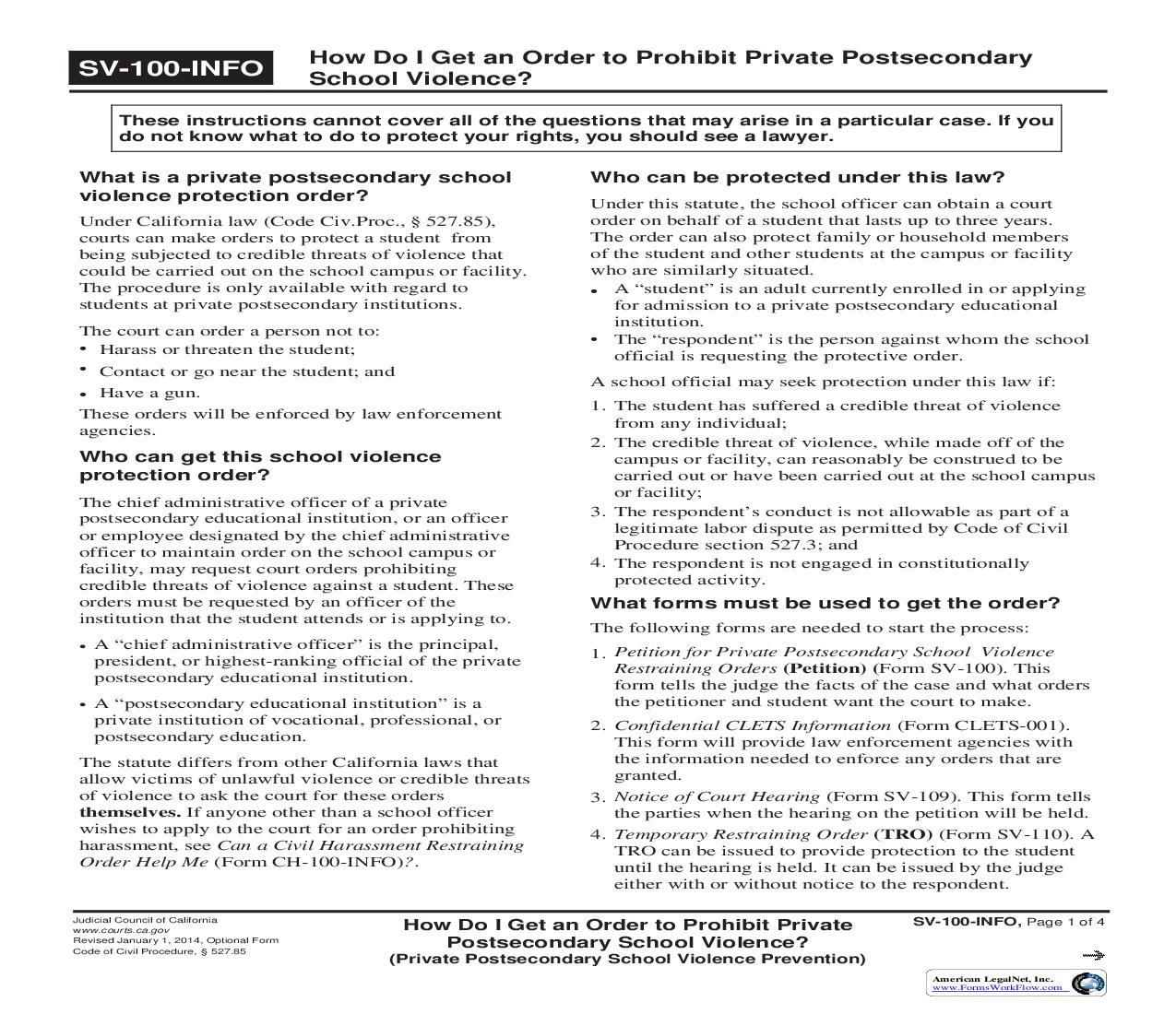 How Do I Get An Order To Prohibit Private Postsecondary School Violence {SV-100-INFO}   Pdf Fpdf Doc Docx   California