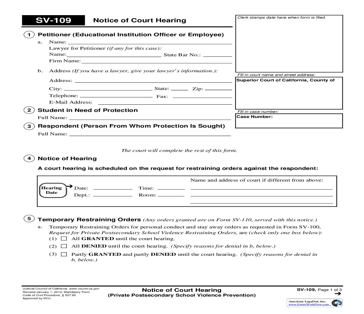 Notice Of Court Hearing (Private Postsecondary School Violence Prevention) {SV-109} | Pdf Fpdf Doc Docx | California